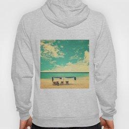 Paradise Beach and Retro Blue Sky  Hoody