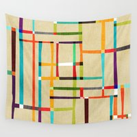 mondrian Wall Tapestries featuring The map (after Mondrian) by Picomodi