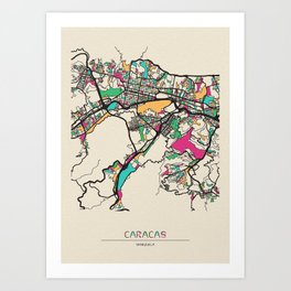 Colorful City Maps: Caracas, Venezuela Art Print