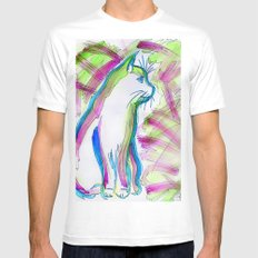Cat of Color White Mens Fitted Tee MEDIUM