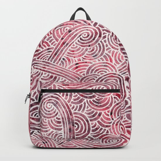 Burgundy red and white swirls doodles Backpack