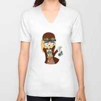 steampunk V-neck T-shirts featuring Steampunk by Laura Meg