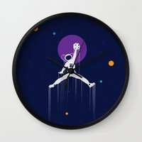 nba Wall Clocks featuring NBA Space by Tony Vazquez