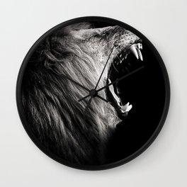 Dark Roaring Lion Wall Clock