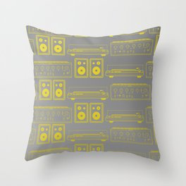 70's Record Player, Amplifier and Speakers in yellow and grey Throw Pillow