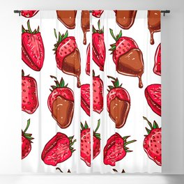 Strawberries dipped in chocolate pattern Blackout Curtain