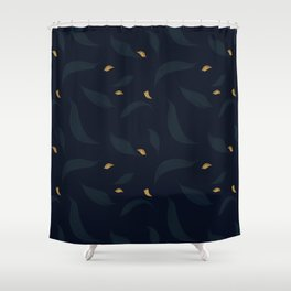 dark spring leafs with gold petals Shower Curtain