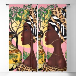 African woman,vase ,fashion art ,pink background ,round earrings. Blackout Curtain