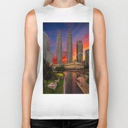 Petronas Towers Sunset Biker Tank