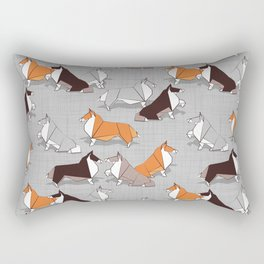 Origami Collie doggie friends Rectangular Pillow