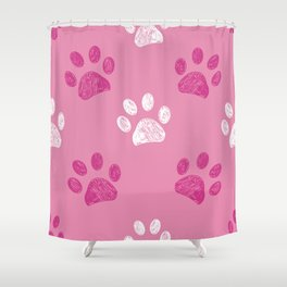 Pink paw print pattern background Shower Curtain