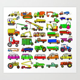 Doodle Trucks Vans and Vehicles Art Print