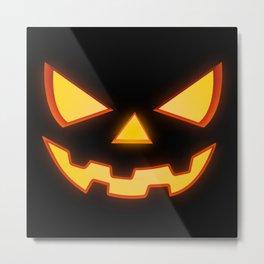Scary Halloween Horror Pumpkin Face Metal Print