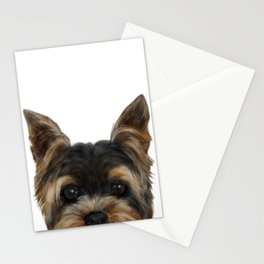 Yorkshire Terrier Mix colorDog illustration original painting print Stationery Cards