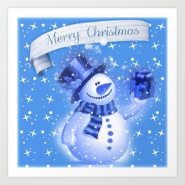 Snowman Christmas Greeting  Art Print