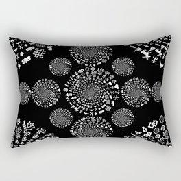 Love Symbol Mandala White on Black Rectangular Pillow