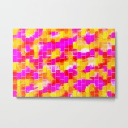 BRICK WALL SMUDGED (Reds, Oranges, Yellows & Fuchsias) Metal Print
