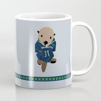 seahawks Mugs featuring The Littlest Seahawks Fan by Carrie Ambo