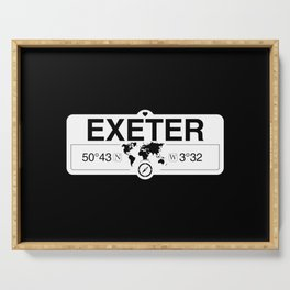 Exeter England GPS Coordinates Map Artwork with Compass Serving Tray