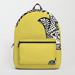 Hand Drawn Hamsa Hand of Fatima on Yellow Backpack