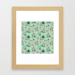 Holiday Woodland Animal Surface Pattern Design - Mint / Cute Animal Framed Art Print