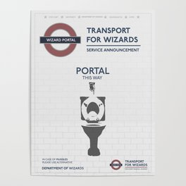Wizard Toilet Portal Sign Poster