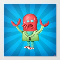 zoidberg Canvas Prints featuring Zoidberg by Adrien /ak/ Ménielle