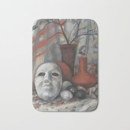 """""""Still life with the mask in grey and terracotta tones"""", soft pastels, life drawing Bath Mat"""