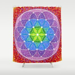 Rainbow Flower of Life Shower Curtain