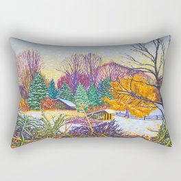 Horse Shed in Winter Rectangular Pillow