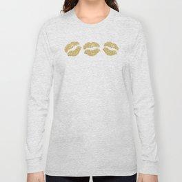 Gold Glitter Lips Long Sleeve T-shirt