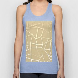 Floating Shapes Gold - Mid-Century Minimalist Graphic Unisex Tank Top