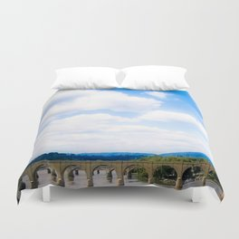 Bridge Below Clouds Duvet Cover