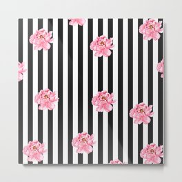 Hand painted pink watercolor black white stripes floral Metal Print