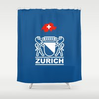 switzerland Shower Curtains featuring Zurich City of Switzerland by insitemyhead