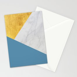 Carrara marble with gold and Pantone Niagara color Stationery Cards