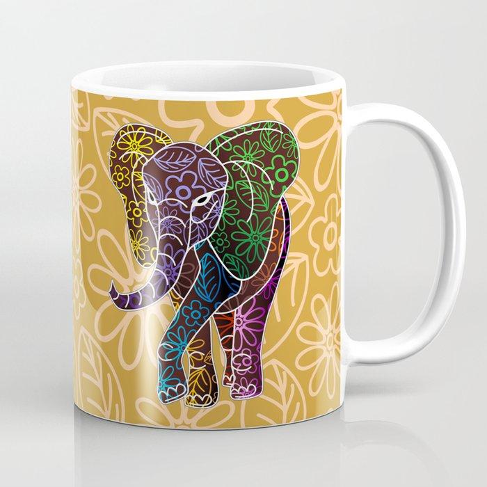 Elephant Floral Batik Art Design Coffee Mug By