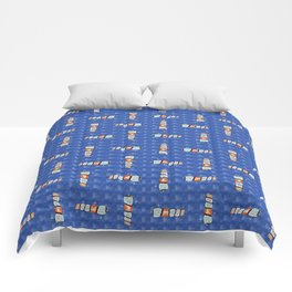 Sue's Motel No. 2 - Pattern in Blue Comforters