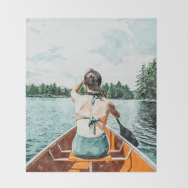 Row Your Own Boat #illustration #decor #painting Throw Blanket