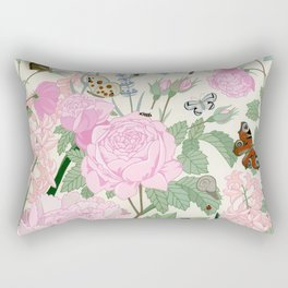 Pink flowers and butterflies Rectangular Pillow