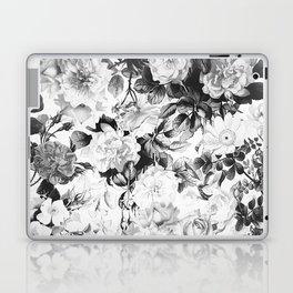 Black gray modern watercolor roses floral pattern Laptop & iPad Skin
