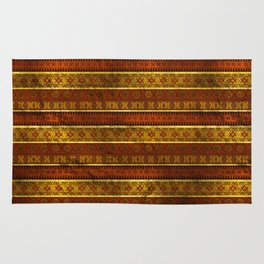 African Ethnic Tribal Pattern in golds and brown Rug