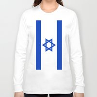 israel Long Sleeve T-shirts featuring Flag of Israel by Neville Hawkins