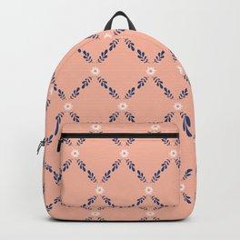 Peach Orange Floral Lattice Backpack