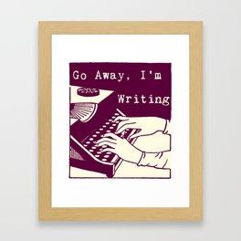 Go Away, I'm Writing (purple/cream) Framed Art Print