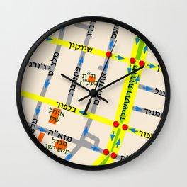 Tel Aviv map - Shenkin Area (Hebrew) Wall Clock