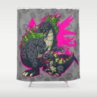 kaiju Shower Curtains featuring Kaiju Senior Kaiju Junior by firestarterdesign