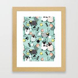 Mééé Memphis sheep // mint background Framed Art Print