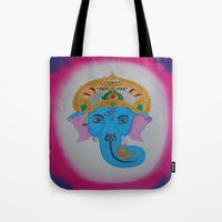 ganesh Tote Bags featuring Ganesh by Pixie Willow Art Designs