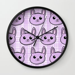 Lavender Bunnies and Plaid Wall Clock